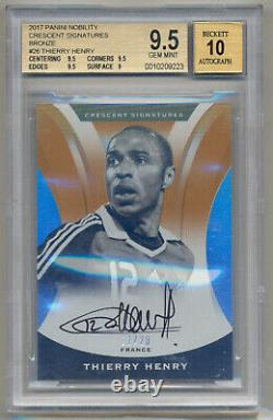 THIERRY HENRY 2017 Panini Nobility Crescent ON CARD AUTO /20 BGS 9.5/10 POP 1