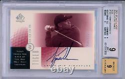TIGER WOODS 2001 Upper Deck UD SP Authentic SOTT Red Rookie RC Auto /273 BGS 9