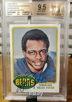 Walter Payton 1998 Topps Autographed Rookie Reprint BGS 9.5 with10 ON CARD Auto